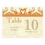 Coral and Ivory Swan Damask Table Number Post Card