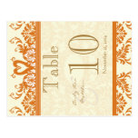 Coral and Ivory Swan Damask Table Number Postcards