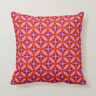 Coral and Lavender Patterns Throw Pillow