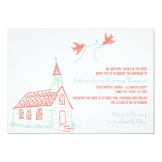Coral and Mint Chapel Wedding Invitation