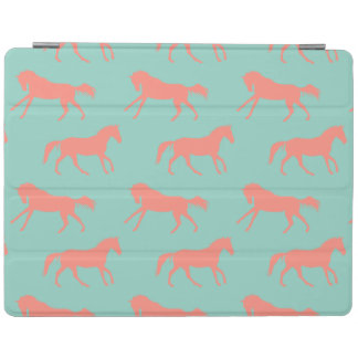 Coral and Mint Galloping Horses Pattern iPad Cover