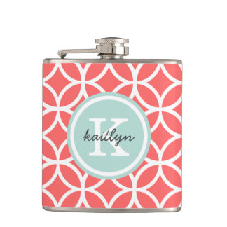 Coral and Mint Geometric Diamonds Custom Monogram Flasks