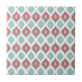 Coral and Mint Geometric Ikat Tribal Print Pattern Tile