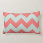 Coral and Mint Green Chevron Pillow