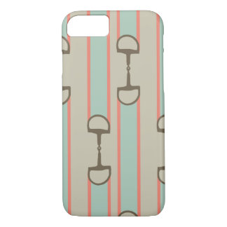 Coral and Mint Horse Bit Ribbon Pattern iPhone 8/7 Case