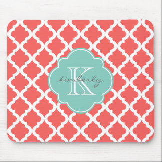 Coral and Mint Moroccan Quatrefoil Print Mouse Pad