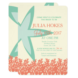 Coral and Mint Starfish Bridal Shower Invitation