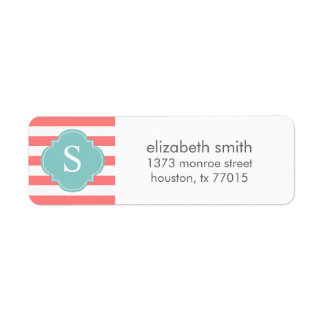 Coral and Mint Stripes Monogram
