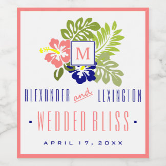 Coral and Navy Blue Hibiscus Monogrammed Wedding Wine Label