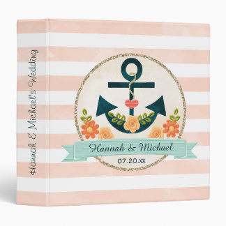 Coral and Navy Blue Nautical Wedding Planner Vinyl Binder