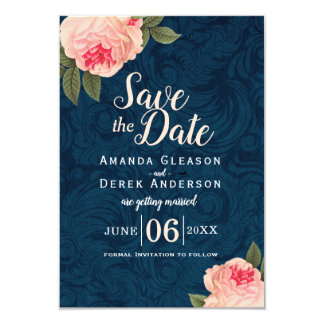 Coral and Navy Blue Shabby Chic Save the Date Card