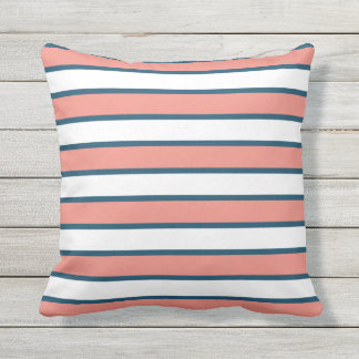 Coral and Navy Blue Summer Stripe Outdoor Outdoor Pillow