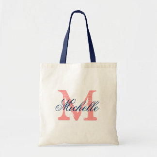 Coral and navy blue wedding tote bag with monogram