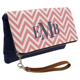 Coral And Navy Chevron Monogram Clutch