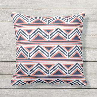 Coral and Navy Modern Aztec Pattern Outdoor Throw Pillow