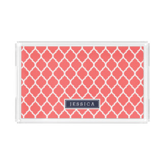 Coral and Navy Moroccan Quatrefoil Monogram Acrylic Tray