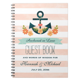 Coral and Navy Nautical Anchor Wedding Guest Book
