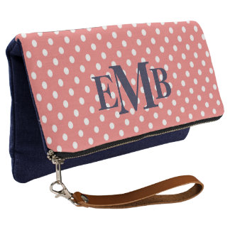 Coral And Navy Polka Dot Monogram Clutch