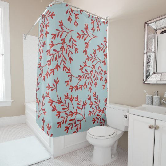 Coral and Ocean Blue Shower Curtain