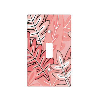 Coral and Peach Abstract Floral #2 Monogrammed Light Switch Cover