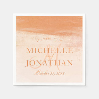 Coral and Peach Watercolor Wash Monogram Wedding Paper Napkins