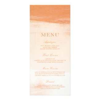 Coral and Peach Watercolor Wash Wedding Menu