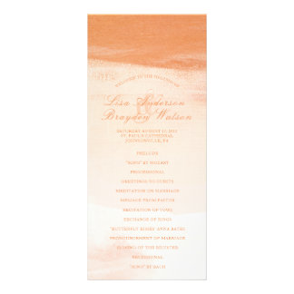 Coral and Peach Watercolor Wash Wedding Program