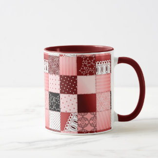 Coral and Red Patchwork Quilt Design Mug