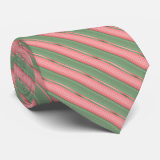 Coral and Sage Green Polka Dot Stripes Tie