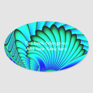Coral and Sea Fans Fractal Oval Sticker