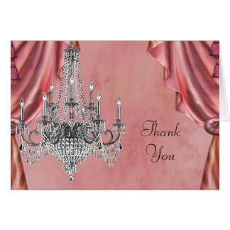 Coral and Silver Chandelier Thank You Cards