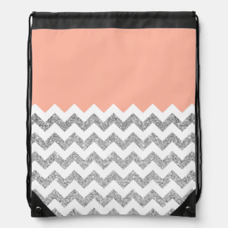 Coral and Silver Faux Glitter Chevron Backpacks