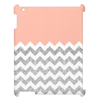 Coral and Silver Faux Glitter Chevron iPad Covers