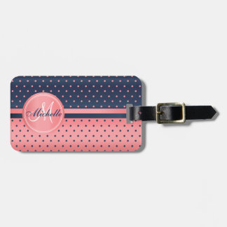 Coral and Slate Blue Polka Dot Design Luggage Tag