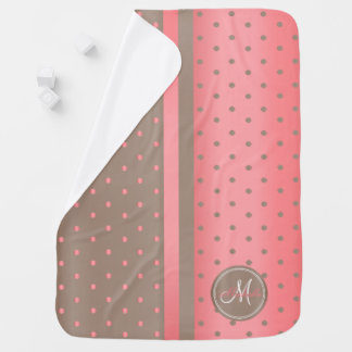 Coral and Tan Polka Dots - Monogram Baby Blanket
