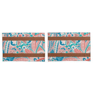 Coral and Teal, Boho Style Pillow Shams Pillowcase