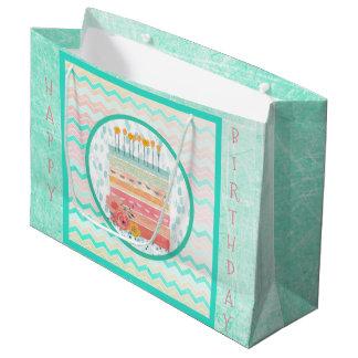 Coral and Teal Cake Birthday Bag