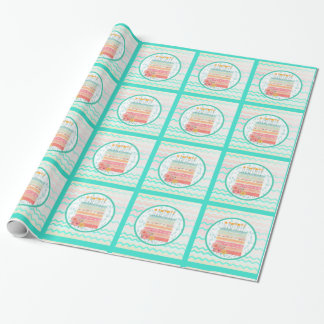 Coral and Teal Cake Birthday Party Gift Wrap