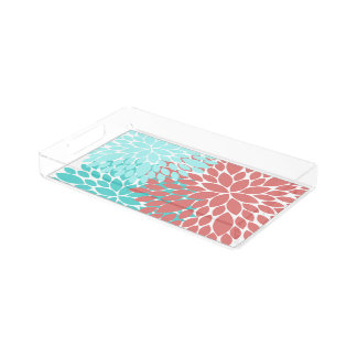 Coral and Teal Dahlia Pattern Makeup Vanity Tray