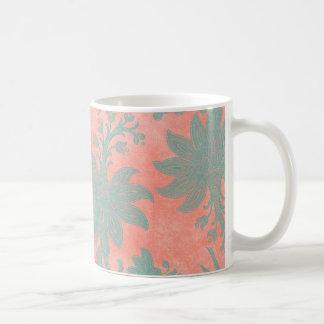 Coral and Teal Damask Tropical Design Coffee Mug