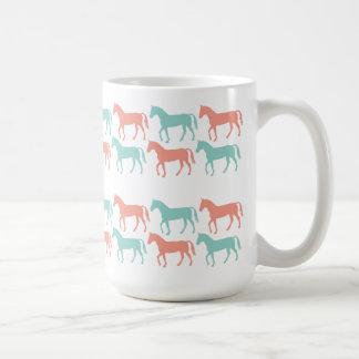 Coral and Teal Horse Pattern Mug