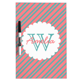 Coral and Turquoise Diagonal Stripe Monogram Dry Erase Board