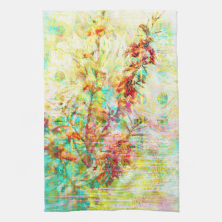 Coral and Turquoise Floral Abstract Polka Dots Kitchen Towel
