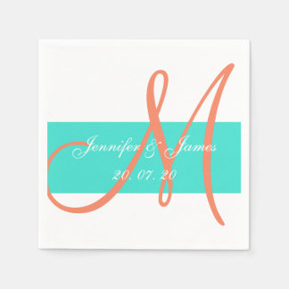 Coral and Turquoise Modern Wedding Paper Napkins