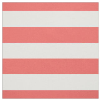 "Coral and White 1.5"" Horizontal Stripes Pattern Fabric"