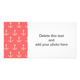 Coral and White Anchors Pattern 1 Photo Card