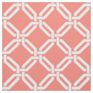 Coral and White // Any Color Octagon Link Pattern Fabric