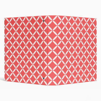 Coral and White Binder