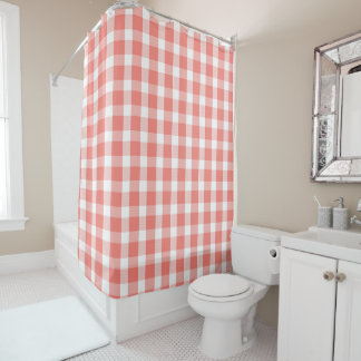 Coral and White Buffalo Plaid Pattern