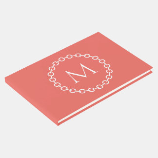 Coral and White Chain Link Ring Circle Monogram Guest Book